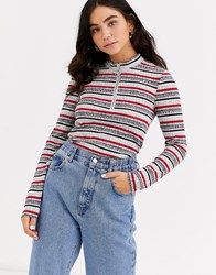 Pieces Zip Neck Long Sleeve Stripe T Shirt Red