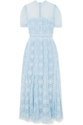 Costarellos Embroidered Swiss Dot Tulle Maxi Dress Sky Blue