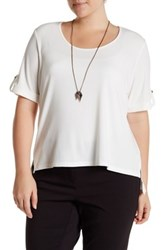 Halo Ribbed Short Sleeve Tee With Necklace Plus Size White