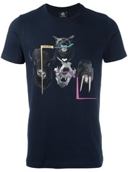 Paul Smith Ps By Animal Print T Shirt Blue