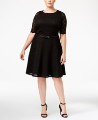 Charter Club Plus Size Belted Lace Fit And Flare Dress Only At Macy's Deep Black