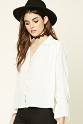 Forever 21 Embroidered Bell Sleeve Shirt Cream