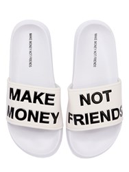 Make Money Not Friends Logo Slide Sandals White