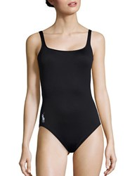 Polo Ralph Lauren Scoopback One Piece Swimsuit Black