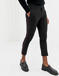 New Look Smart Trousers With Side Stripe In Black