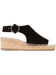 Rag And Bone Buckled Espadrille Sandals Women Leather Rubber 39.5 Black