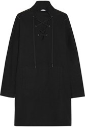 Tomas Maier Studded Moleskin Cotton Mini Dress Black