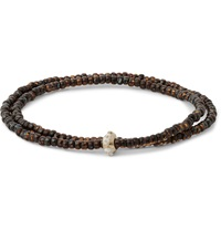 Luis Morais Yellow Gold And Enamel Double Wrap Bead Bracelet Brown
