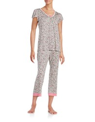 Miss Elaine Floral Tee And Pants Pajama Set Pink White