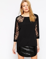 Y.A.S Long Sleeve Shirt With Lace Arm Inserts Black