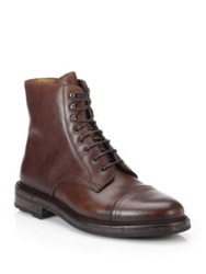 Ralph Lauren Macomb Waxy Leather Lace Up Boots Dark Brown