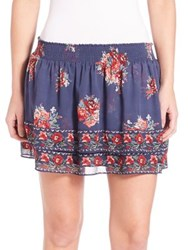 Joie Turnley Hacienda Floral Printed Skirt Dark Navy