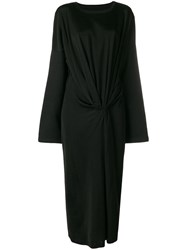 Maison Martin Margiela Mm6 Draped Long Dress Black