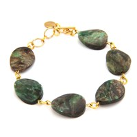 Salome Rebel Collection Limited Edition Raw Emerald Bracelet Gold Green Brown