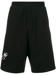Mcq By Alexander Mcqueen Swallow Patch Shorts Cotton Black