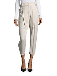 Brunello Cucinelli Ankle Length Silk Pants Beige