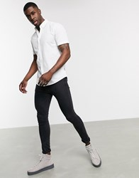 Only And Sons Short Sleeve Stretch Cotton Shirt In White