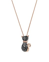 Bloomingdale's Black Diamond Cat Pendant Necklace In 14K Rose Gold .40 Ct. T.W. Black Rose