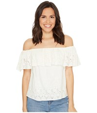 Lucky Brand Eyelet Off The Shoulder Top Marshmallow Women's Short Sleeve Pullover Blue