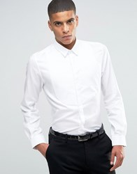 Hart Hollywood By Nick Slim Smart Shirt With Textured Bib Front White