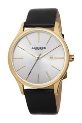 Akribos Xxiv Men's Genuine Leather Strap Watch Metallic