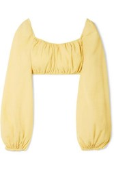 Cult Gaia Clara Cropped Crinkled Cotton Blend Top Pastel Yellow