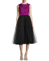Badgley Mischka Sleeveless Lace Tea Length Dress W Tulle Skirt