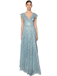 Luisa Beccaria Long Embroidered Silk Chiffon Dress Multi