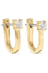 Melissa Kaye Aria U Huggie 18 Karat Gold Diamond Earrings One Size