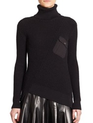 Marc By Marc Jacobs Cotton And Silk Waffle Turtleneck Sweater Black