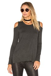 Central Park West Brighton Cold Shoulder Sweater Charcoal