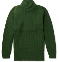 Oliver Spencer Mercantile Shawl Collar Wool Sweater Green