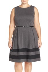 Taylor Border Stripe Ponte Fit And Flare Dress Plus Size Gray
