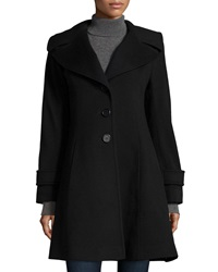 Fleurette Single Breasted A Line Wool Coat Black