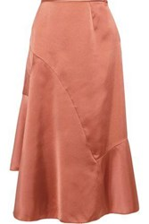 Iris And Ink Maisy Asymmetric Satin Crepe Midi Skirt Antique Rose