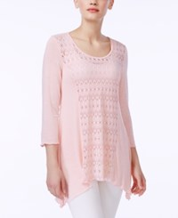 Miraclesuit Perforated Three Quarter Sleeve Top Blush
