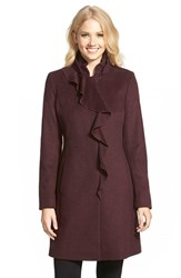 Petite Women's Dkny Ruffle Front Wool Blend Coat Shiraz