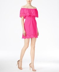 Kensie Crochet Trim Off The Shoulder Dress Electric Pink