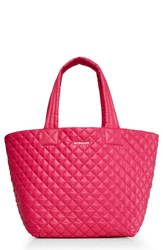 M Z Wallace Mz 'Medium Metro' Quilted Lacquer Tote Pink Dragon Fruit