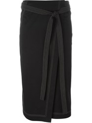 Jil Sander Belted Wrap Midi Skirt Black