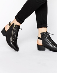 Tba To Be Announced Hijack Cut Out Lace Up Ankle Boots Blackleather