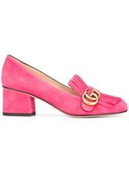 Gucci Gg Vamp Fringed Loafers Pink Purple