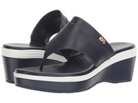 Cole Haan Cecily Grand Thong Marine Blue Sandshell Leather Optic White Marine Blue Women's Shoes Navy