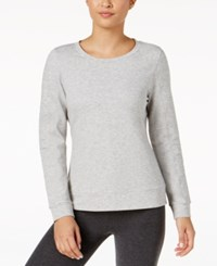 32 Degrees Quilted Fleece Top Heather Grey