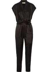 L'agence Alessandra Wrap Effect Satin Jumpsuit Black