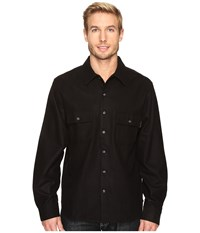 Woolrich Bering Wool Plaid Shirt Solid Black Men's Clothing