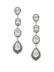 Saks Fifth Avenue Cubic Zirconia Linear Drop Earrings Rhodium