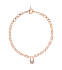 Michael Kors Crystal Padlock Rose Gold Tone Necklace