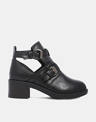 Truffle Collection Truffle Cut Out Buckle Boots Black