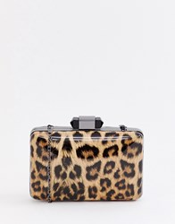 True Decadence Patent Leopard Print Box Clutch Bag Multi